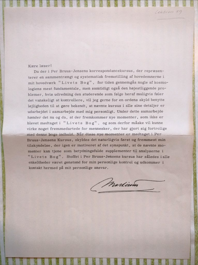 Korrespondancekursus, godkendelsesbrev fra Martinus
